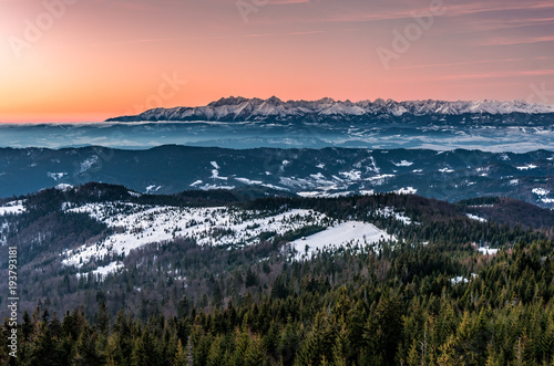 Fotobehang Zalm Tatra mountains in winter, view from Gorce, Poland