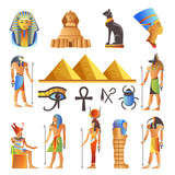 Egypt culture symbols vector isolated icons of gods and sacred animals - 193794171