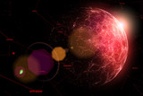 Dark red colored network space with sunny globe and random numbers. View from space. - 193794566