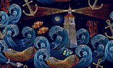 Embroidery lighthouse, anchor, boat, sea waves seamless pattern. Classical embroidery impressionism style lighthouse and storm in ocean seamless background - 193794910