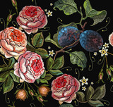 Embroidery plums and roses flowers seamless pattern. Template clothes, t-shirt design, print, renaissance style. Classical embroidery red roses and branch of plum on black background - 193795510