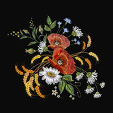 Chamomiles and poppies embroidery. Beautiful bouquet of chamomiles, poppies classic embroidery seamless background for clothes - 193795532