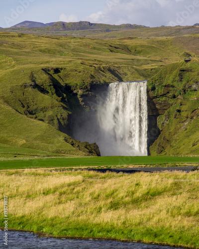 Fotobehang Honing Skogafoss waterfall, Iceland