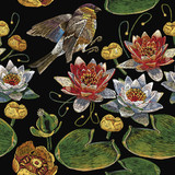 Embroidery vintage pink and white lotuses and water lilies, birds. Template fashionable seamless pattern clothes, t-shirt design vector. Water lily embroidery seamless pattern - 193798798