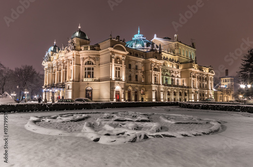 Aluminium Krakau Krakow, Poland, night winter view of city theater