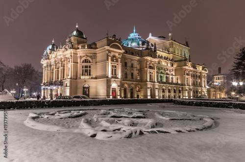 Fotobehang Krakau Krakow, Poland, night winter view of city theater