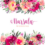 Marsala wedding watercolor floral background - 193808390