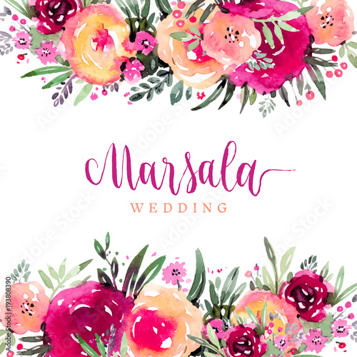 Wall mural Marsala wedding watercolor floral background
