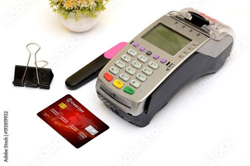 Credit debit card with reader machine shopping concept