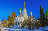 SOCHI, RUSSIA - JANUARY 27, 2016: Winter panorama of the temple complex.