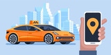 Taxi banner. Online mobile application order taxi service. Man call a taxi by smartphone. Vector horizontal illustration. - 193822527