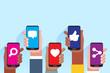 Social media applications. Mobile applications concept. Multi skin color hands raising smartphone.