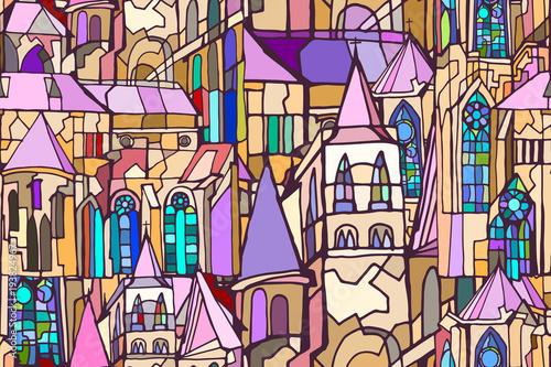 Wektor wzór z fikcyjne elementy architektury gotyckiej miasta, takie jak wieże i witraże. Streszczenie kolorowe tło. Ręcznie rysowane.