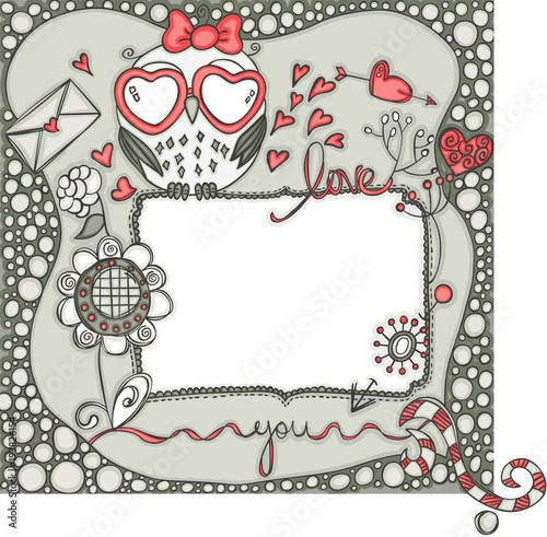 Foto op Canvas Uilen cartoon Love layout frame with owl