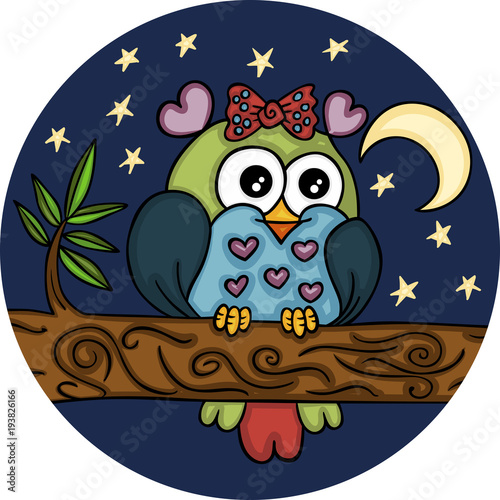 Fotobehang Uilen cartoon Lovely adorable owl in night landscape