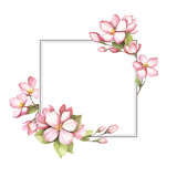 Frame with the cherry blossoms. Hand draw watercolor illustration. - 193836972
