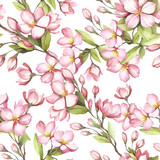 Seamless pattern with cherry blossoms. Watercolor illustration. - 193836984