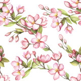 Seamless pattern with cherry blossoms. Watercolor illustration. - 193836997