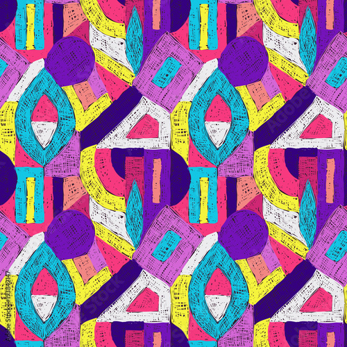 In de dag Pop Art Geometric pop art retro pattern doodle purple violet