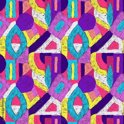 Foto Spatwand Pop Art Geometric pop art retro pattern doodle purple violet