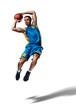 basketball playing making trick isolated