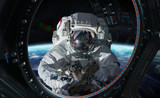 Astronaut working on a space station 3D rendering elements of this image furnished by NASA - 193846937