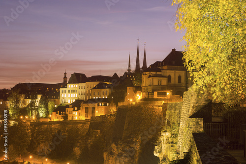 Fotobehang Lavendel Panorama of Luxembourg City at sunset