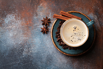 Coffee cup, beans and spices