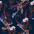 Seamless pattern with wild flowers and leaves. Dark background flowers in botanical motifs. - 193851503
