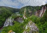 panorama of Plitvice waterfalls - 193852991
