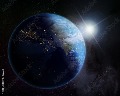 Fotobehang Zonsopgang vision of sunrise over the Earth ,Europe, Asia and Africa- Elements of this image furnished by NASA