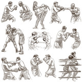 Box. Boxing Sport. Collection of boxing positions of some sportmen, boxers. An hand drawn set on white. Isolated. - 193857360