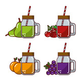 collection fruits juices glass straw fresh natural vector illustration - 193859957