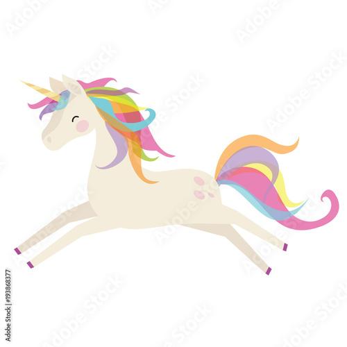 Fototapeta Cute unicorn vector cartoon illustration