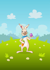 Easter bunny with egg and carrot - landscape cartoon nature background © Anura.dsgn