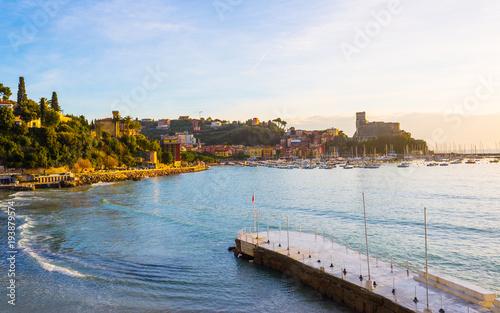 Fotobehang Liguria Lerici, a popular Italian sea resort tourist town in Cinque terre, Liguria, Italy