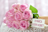bunch of pink roses for Women Day in Poland