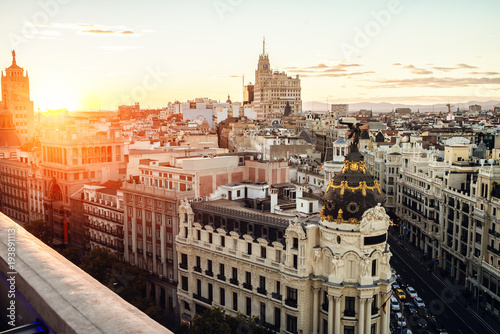 Papiers peints Madrid Cityscape of Madrid at sunset, with Gran Vía street