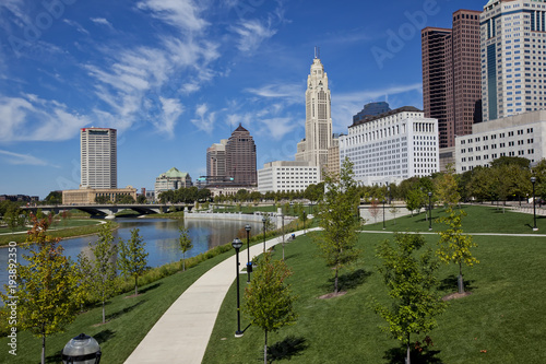 Columbus, Ohio was built along the Scioto River in the downtown district.  The Scioto Mile includes a path for recreation in this urban riverfront setting. © aceshot