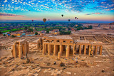 Hot Air Balloon at Sunrise in over Ruins in Luxor Egypt