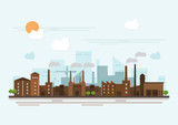 Industrial factory in a flat style.Vector and illustration of manufacturing building. - 193899502