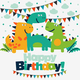 Happy Birthday  Lovely  Card  Funny Dinosaurs Wall Sticker