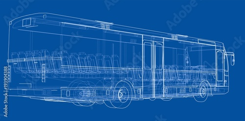Plexiglas Auto Concept city bus. Vector rendering of 3d