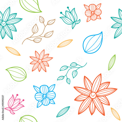 flower set hand drawn seamless pattern - 193915537