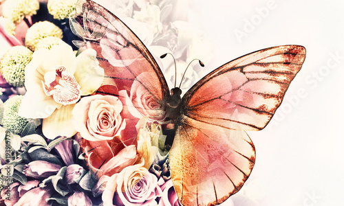 butterfly with flowers - 193915779