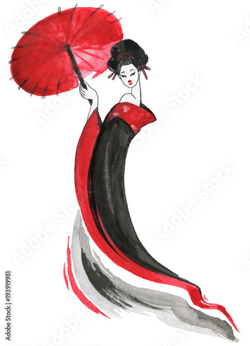 Geisha, women in traditional clothing. Japanese style, Watercolor hand painting illustration © katyau