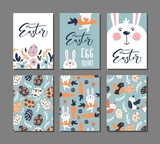 Happy Easter Greeting Card  Rabbit Bird And Lettering Text  6 Postcard Templates  Message Wall Sticker