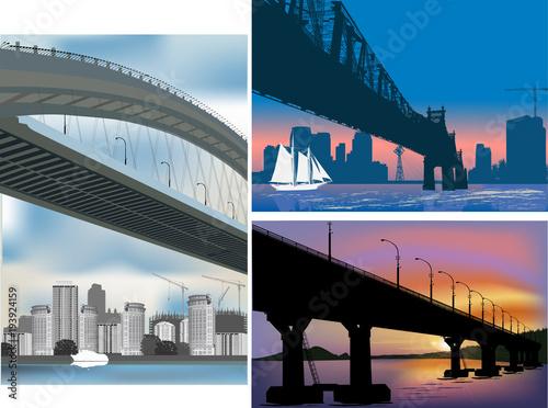 Fototapeta three bridge compositions illustration