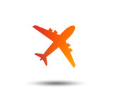 Airplane sign. Plane symbol. Travel icon. Flight flat label. Blurred gradient design element. Vivid graphic flat icon. Vector