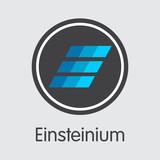 Einsteinium Crypto Currency. Vector EMC2 Graphic Symbol.
